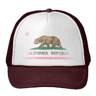 Vintage Fade California Republic Flag Trucker Hat