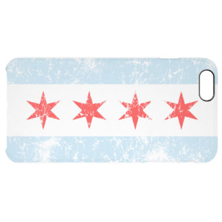 Vintage Fade Chicago Flag Clear iPhone 6 Plus Case
