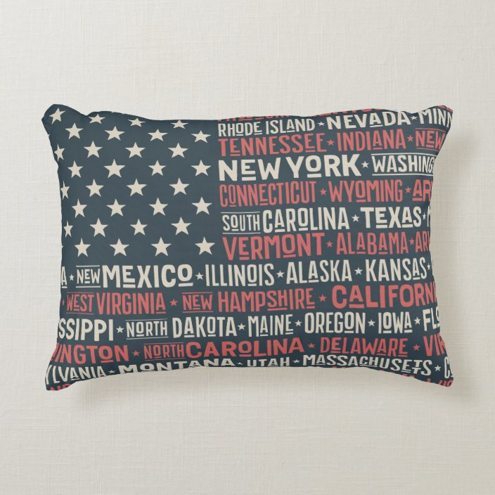 Vintage Faded American Flag State Names Words Art Accent Pillow Zazzle Com