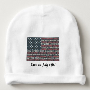 Vintage Faded American Flag State Names Words Art Baby Beanie