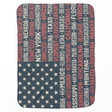 Vintage Faded American Flag State Names Words Art Baby Blanket