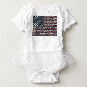 Vintage Faded American Flag State Names Words Art Baby Bodysuit