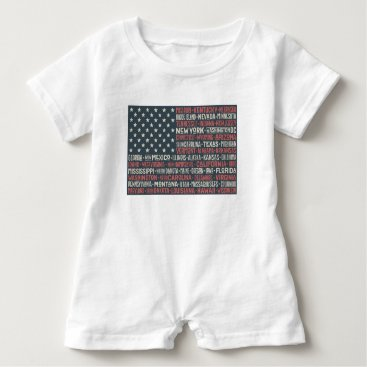 Vintage Faded American Flag State Names Words Art Baby Romper