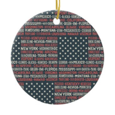 Vintage Faded American Flag State Names Words Art Ceramic Ornament