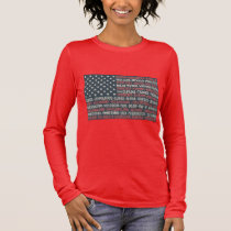 Vintage Faded American Flag State Names Words Art Long Sleeve T-Shirt