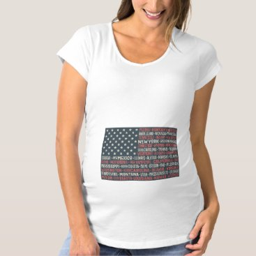Vintage Faded American Flag State Names Words Art Maternity T-Shirt