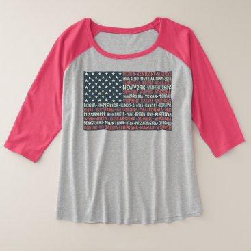 Vintage Faded American Flag State Names Words Art Plus Size Raglan T-Shirt