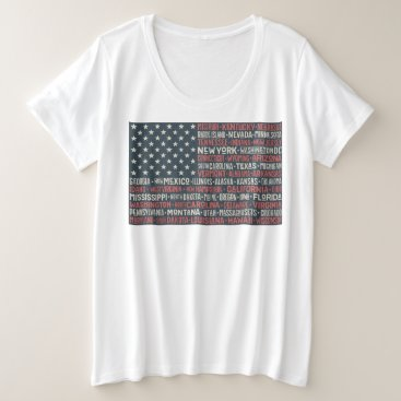 Vintage Faded American Flag State Names Words Art Plus Size T-Shirt