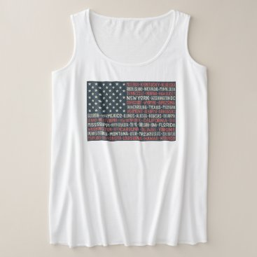 Vintage Faded American Flag State Names Words Art Plus Size Tank Top