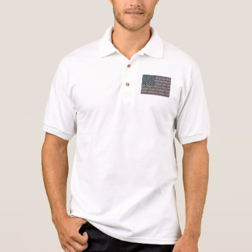 Vintage Faded American Flag State Names Words Art Polo Shirt