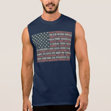 Vintage Faded American Flag State Names Words Art Sleeveless Shirt