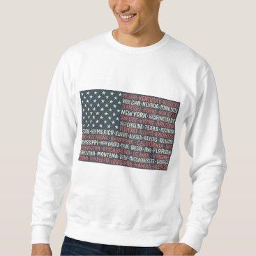 Vintage Faded American Flag State Names Words Art Sweatshirt