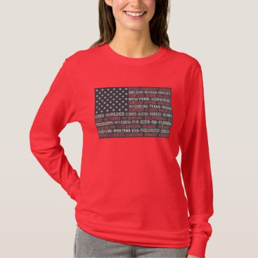 Vintage Faded American Flag State Names Words Art T-Shirt