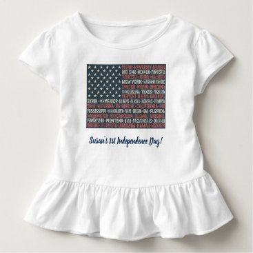 Vintage Faded American Flag State Names Words Art Toddler T-shirt