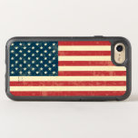 "Vintage Faded American Flag USA OtterBox Symmetry iPhone 8/7 Case<br><div class=""desc"">A patriotic red,  white and blue stars and stripes old glory USA FLAG sun bleached and faded design</div>"