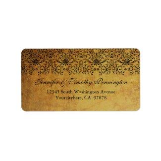 Vintage faded black gold damask address label label