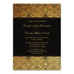 "Vintage faded black gold damask wedding invitation 5"" x 7"" invitation card"