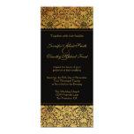 "Vintage faded black gold damask wedding invitation 4"" x 9.25"" invitation card"