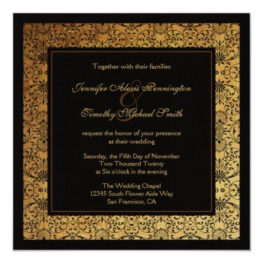 "Vintage faded black gold damask wedding invitation 5.25"" square invitation card"