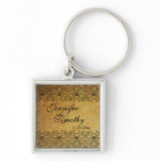 Vintage faded black gold damask wedding keychain keychain