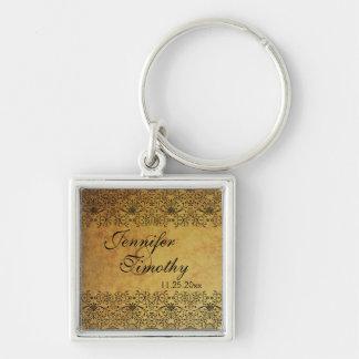 Vintage faded black gold damask wedding keychain