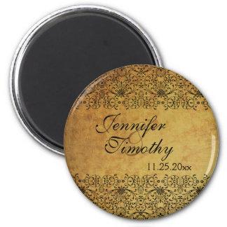Vintage faded black gold damask wedding magnet