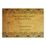 Vintage faded black gold damask wedding RSVP card