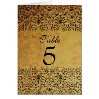 Vintage faded black gold damask wedding table card card