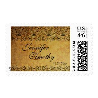 Vintage faded black gold damask wedding table card stamp