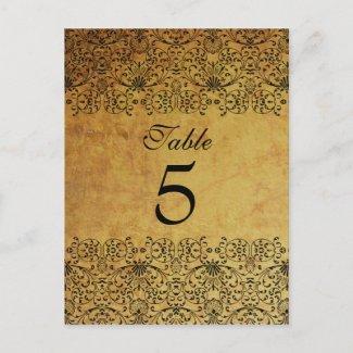 Vintage faded black gold damask wedding table card postcard