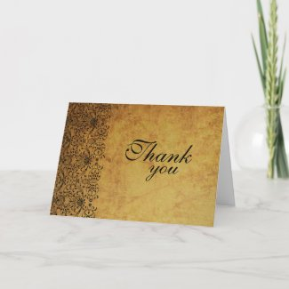 Vintage faded black gold damask wedding thank you card