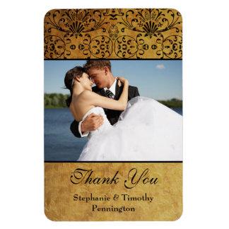 Vintage faded black gold damask wedding thank you rectangular photo magnet