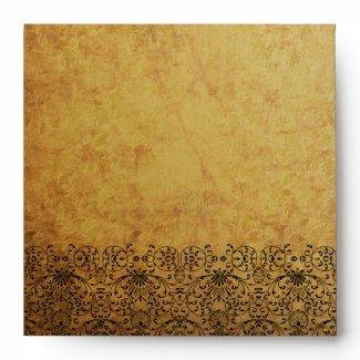 Vintage faded black gold swirl damask envelope envelope