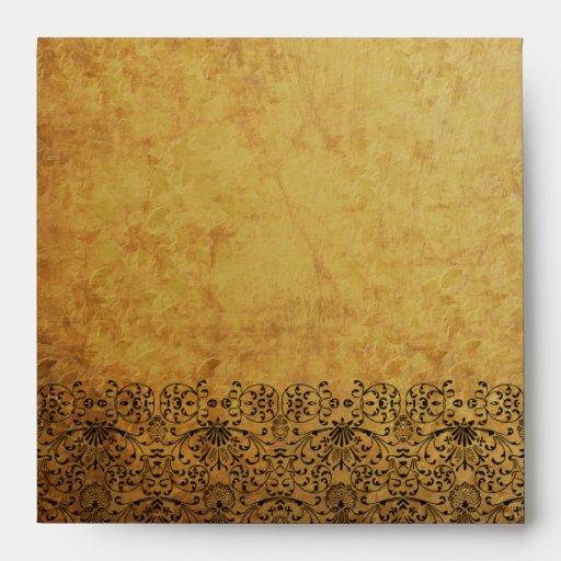 Vintage faded black gold swirl damask envelope