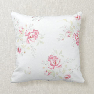 Vintage Faded Floral Throw Pillow-Pink Flowers Throw Pillow