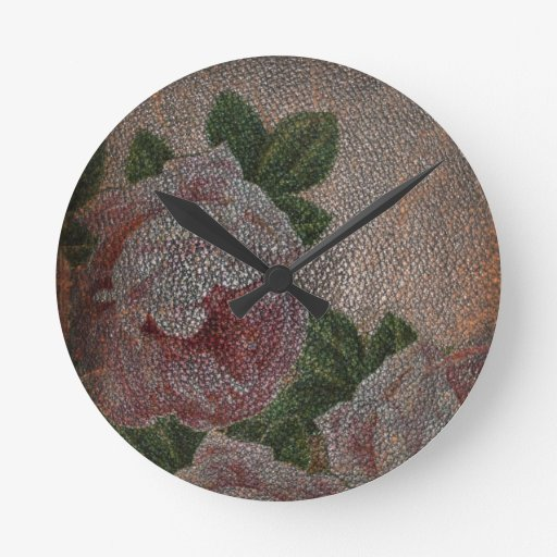 Vintage Faded Leather Victorian Roses Wall Clock
