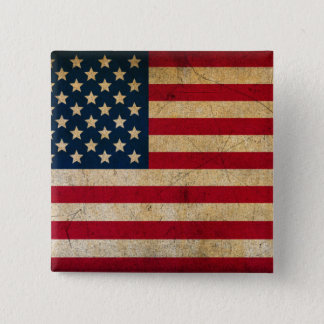 Vintage Faded Old US American Flag Antique Grunge Button
