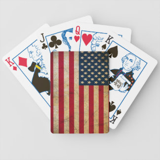 Vintage Faded Old US American Flag Antique Grunge Bicycle Playing Cards