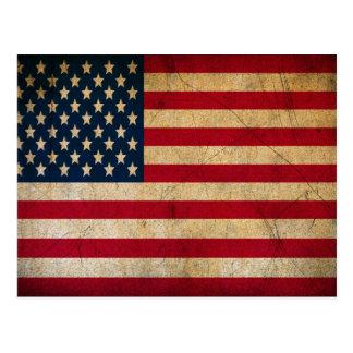 Vintage Faded Old US American Flag Antique Grunge Postcard