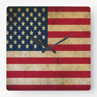 Vintage Faded Old US American Flag Antique Grunge Square Wall Clock