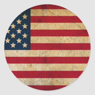 Vintage Faded Old US American Flag Antique Grunge Round Stickers