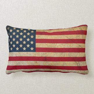 Vintage Faded Old US American Flag Antique Grunge Throw Pillows