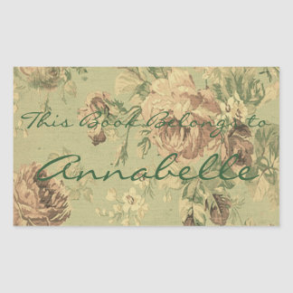 Vintage Faded Roses Personalized Bookplate