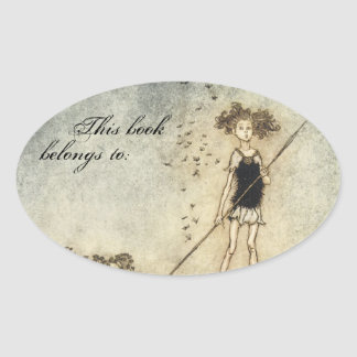Vintage Faerie Book Plate Oval Sticker