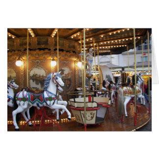 Vintage Fairground Carousel Card