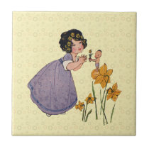 Vintage Fairies and Daffodils Ceramic Tile