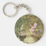 Vintage Fairies and Frogs Basic Round Button Keychain