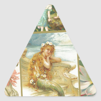 Vintage Fairies and Mermaids Triangle Sticker