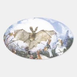 Vintage Fairies Attacking A Bat Oval Sticker