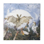 Vintage Fairies Attacking A Bat Small Square Tile